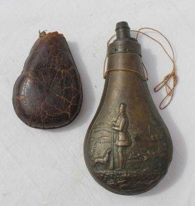 2 19thC Gun Powder Flasks - 1 In Brass W Embossed