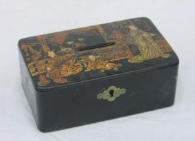 Antique Japanese Lacquered Papier Mache Coin Box Or