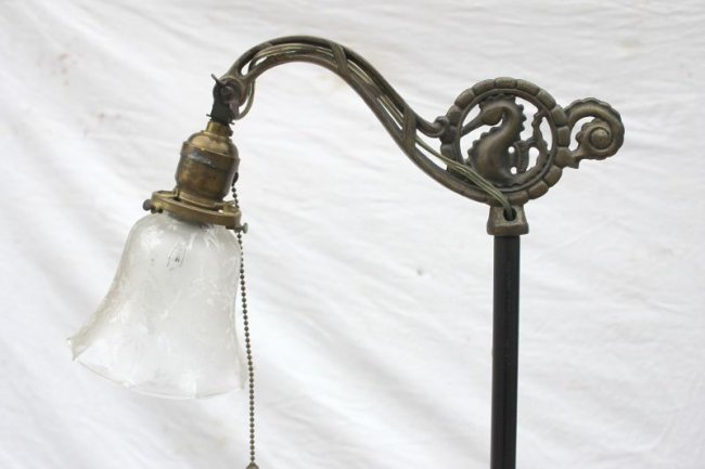 Antique Iron Floor Lamp W Brass Base Amp Gooseneck Arm W