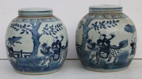 Pr Of Chinese Blue & White Porcelain Covered Ginger