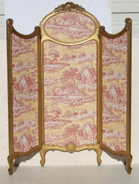 Beautiful Turn Of The Century French Trifold Carved &