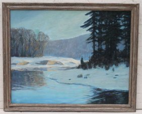 "Horace Brown (1876-1949) 32""x40"" O/c Winter Snow"