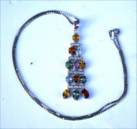 14k White Gold Diamond & Multi Color Gem Set Pendant
