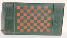 19thc Gameboard In Orig Green & Salmon Paint - 26 1/2""