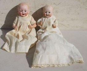 2 Ca 1910-1920's German Character Babies W Bisque Heads