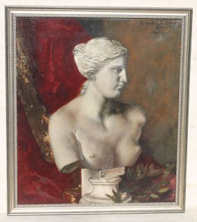 "Gertrude L Gutmann 35""x30"" O/c Of Venus De Milo Dated"