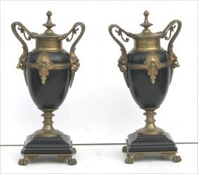 Great Quality 19thc French Bronze & Marble Garniture
