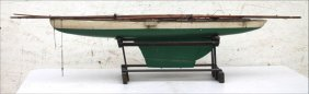 Fine Early Racing Model Boat In Orig Paint W Cloth
