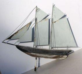 Mid 20thc Wood & Sheet Metal Sailboat Weathervane In