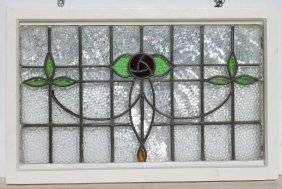 Beautiful Leaded/stained Glass Window W Rose Motif - 21