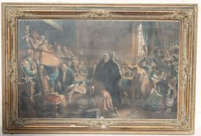 """19thc Hand Colored Print """"the Trial Of Effie Deans"""" In"""