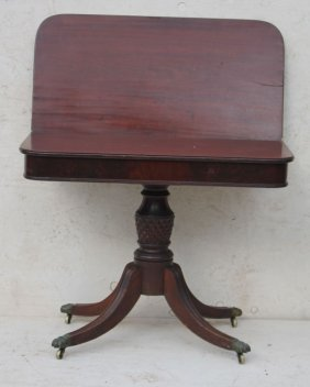 Early 19thc Period Federal Mahog Game Table W Pineapple