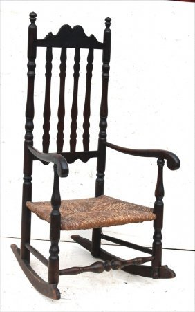 18thc Deerfield, Ma Bannister Back Rocking Armchair W