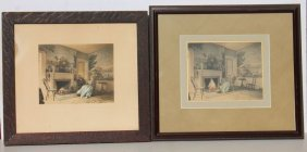 "Lot Of 2 Wallace Nutting Interiors ""an Old Parlor Idyl"""
