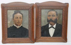 Pr Of 19thc Large Tin Photos W Extensive Hand Painted