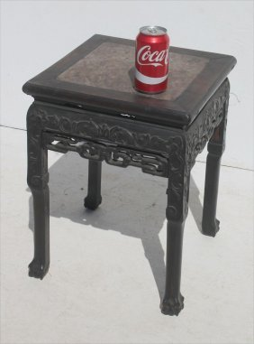19thc Chinese Carved Taboret W Rouge Marble Inset Top -