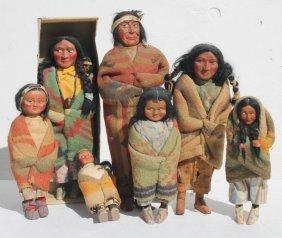 Lot Of 7 Antique Native American Skookum Dolls Incl 1