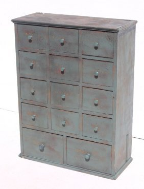 19thc 14 Drawer Apothecary Chest In Old Blue Paint From