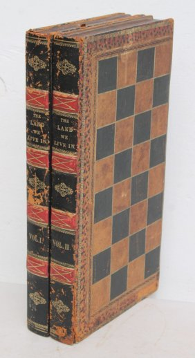 Antique Folding Book Form Leather Covered Checkers &