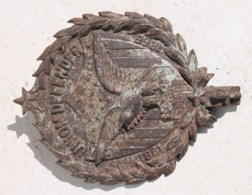 Rare Cast Iron Civil War Grave Marker Marked Union