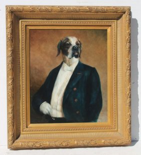 """Sgnd Massey 24""""x20"""" O/c Anthropomorphic Painting Of A"""