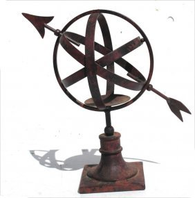 "Iron Constructed Armillary - 11"" Tall"