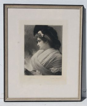 19thc Black & White Etching Of A Woman, Pencil Sgnd
