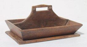 "Antique Wooden Cutlery Tray W Pierced Handle - 6"" Tall"