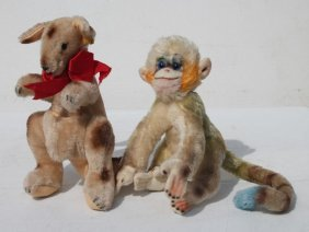 Lot Of 2 Mohair Stuffed Items Incl Kangaroo & Monkey -