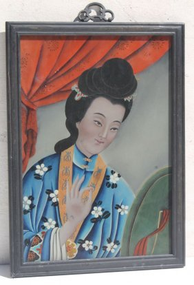 Mid 19thc Chinese Reverse Painting On Glass Portrait Of