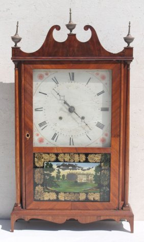19thc Eli Terry Pillar & Scroll Clock W Orig Label,