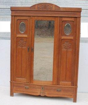 Great Art Nouveau Carved Golden Oak 3 Door Over 2