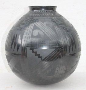 Lg Black Matte Ortiz Pottery Carved Vessel Sgnd