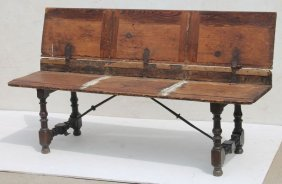 Rare Early Late 17th/18thc Spanish Tuck Away Bench In