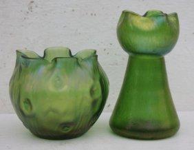 2 Pcs Of Green Irid Austrian Art Glass - Probably Loetz