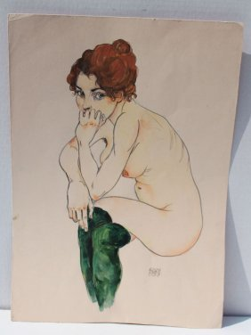 """Rare Egon Schiele (1890-1918) 17""""x12"""" Mixed Media"""