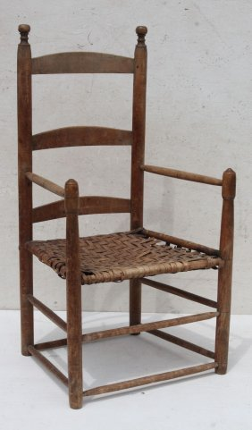 Early 18thc New England 3 Slat Ladderback Armchair W