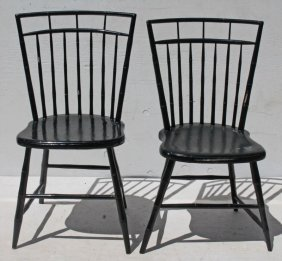 Pr Of Period Windsor Birdcage Sidechairs In Old Black