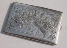 Sterling Silver Taj Mahal Embossed Dec Cigarette Case -