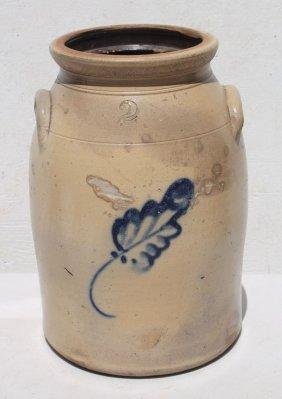 Ca 1860 New England Stoneware 2 Gal Crock W Cobalt Blue