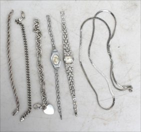Lot Of Silver Incl 3 Sterling Bracelets & A Sterling