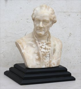 """Antique Marble Bust Of A Man On Wooden Plinth - 12"""""""
