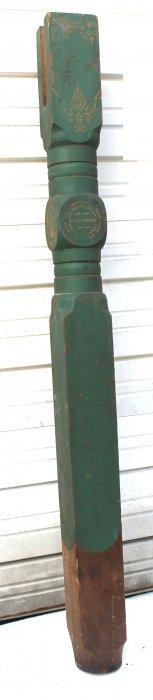 Ca 1860 Orig Painted & Stenciled Well Pump Post - 6'