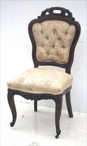 Late Victorian Floral Carved Lady's Sidechair W Tufted
