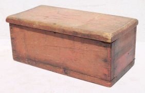 Ca 1840 New England Pine Carved Document Box In Orig