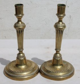 """Fine Pr Of Early 19thc French Brass Candlesticks - 11"""""""