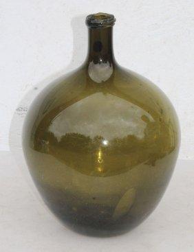 Late 18thc Rare Free Blown Amber Olive Color Demi-john