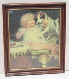 Victorian Black Walnut Framed Print Of A Young Girl W
