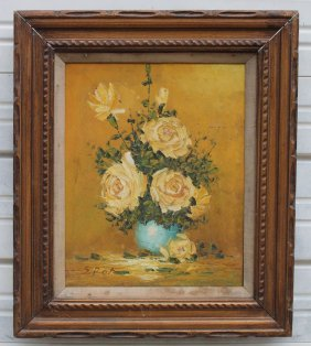 """Sgnd ? 20""""x16"""" O/c Still Life Of Yellow Roses In A Blue"""