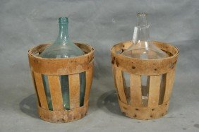 Antique Large Wine Bottles In Crates 2